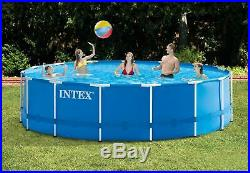 15' x 48 Metal Frame Above Ground Swimming Pool Set with Pump Cover Pool Ladder