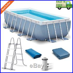 16' x 8' x 3.5' Swimming Pool Set Prism Frame with Filter Pump Ladder Cover Cloth