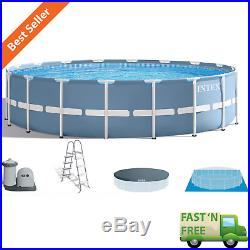 18' x 4' Swimming Pool Set Prism Frame with Filter Pump Cover Ladder Ground Cloth