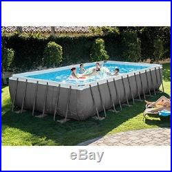 24ft X 12ft X 52in Ultra Frame Rectangular Pool Set with Sand Filter Pump& Cover