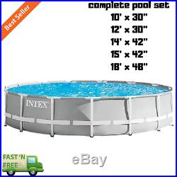 Above Ground Swimming Pool Set Prism Frame Round with Filter Pump Cover Ladder Pad