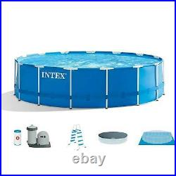 INTEX 15ft x 48in Metal Frame Above Ground Pool Set with Pump, Cover, & Ladder
