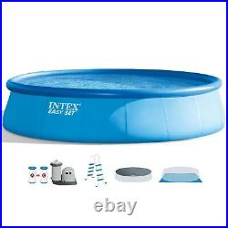 INTEX 18' x 48 Inflatable Round Above Ground Swimming Pool Set with Filter Pump