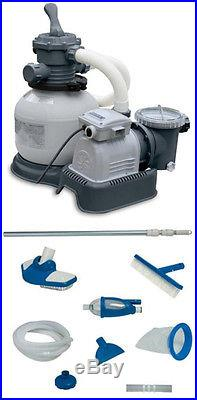 INTEX 2100 GPH Krystal Clear Sand Filter Pool Pump with Deluxe Maintenance Kit