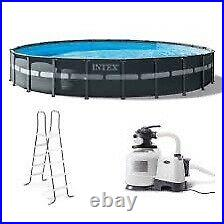 INTEX 24ft x 52in Ultra XTR Round Frame Pool Set With Sand Pump, Ladder, & Cover