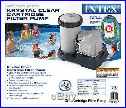 INTEX 2500 GPH Filter Cartridge Pump with Timer and Above Ground Pool Vacuum