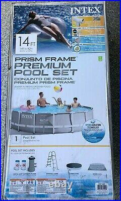 INTEX PRISM METAL FRAME ABOVE GROUND SWIMMING POOL WITH PUMP 14FT x 42IN 14'x42