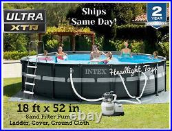 INTEX Ultra XTR Frame 18 ft x 52 in Round Above Ground Swimming Pool Filter Pump