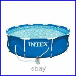 Intex 10 ft. X 30 in. Metal Frame Above Ground Swimming Pool Set with Filter Pump