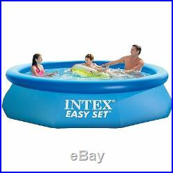 Intex 10 x 2.5 Foot Easy Set Inflatable Kid Swimming Pool with Filter Pump, Blue