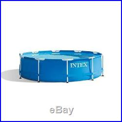 Intex 10' x 30 Metal Frame Round Above Ground Swimming Pool Set with Filter Pump