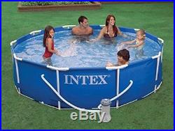 Intex 10foot x 30inch Metal Frame Set Swimming Pool with Filter Pump and Mainten