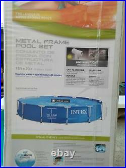 Intex 12' x 30 Metal Frame Round Above Ground Pool with Filter & Pump-SHIP NOW