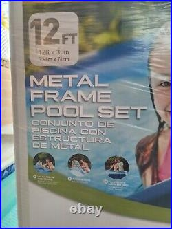 Intex 12' x 30 Metal Frame Round Above Ground Swimming Pool with Filter & Pump