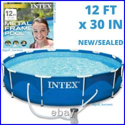 Intex 12' x 30 Metal Frame Round Above Ground Swimming Pool with Pump NEW