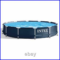 Intex 12' x 30 Metal Frame Round Above Ground Swimming Pool with Pump (Used)