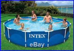 Intex 12ft x 30in Metal Frame Above Ground Round Family Swimming Pool Set & Pump