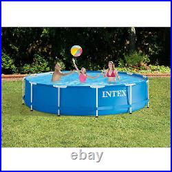 Intex 12ft x 30in Metal Frame Round Above Ground Swimming Pool with Pump
