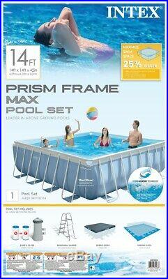 Intex 14' x 42 Prism XL Frame Square Above Ground Pool Set with Filter Pump