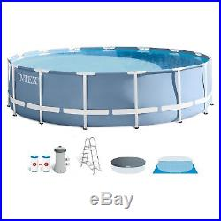 Intex 15 Feet x 42 Inches Prism Frame Above Ground Swimming Pool Set with Pump