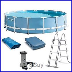 Intex 15 Feet x 48 Inches Prism Frame Pool Set with Ladder, Cover, & Pump