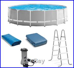 Intex 15 ft Prism Steel Frame Above Ground Round Swimming Pool Set Ladder Pump
