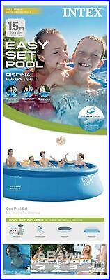 Intex 15 x 48 Easy Set Above Ground Swimming Pool with 1000 GPH GFCI Pump 28167EH