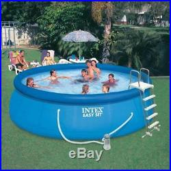 Intex 15 x 48 Inflatable Easy Set Above Ground Swimming Pool with Ladder & Pump