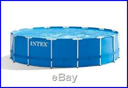Intex 15' x 48 Metal Frame Above Ground Swimming Pool Set with Pump Cover Ladder