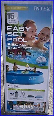 Intex 15ft X 42in Easy Set Pool Set With Filter Pump Ladder Cloth & Cover 15x42