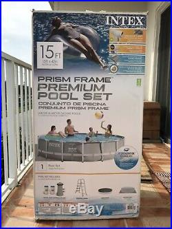 Intex 15ft X 42in Prism Frame Pool Set comes with Filter Pump and Ladder 26723EH