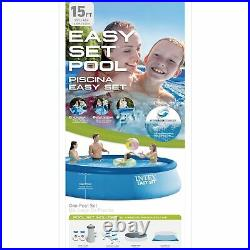 Intex 15ft x 42in Inflatable Swimming Pool with Ladder, Cover, Pump, Vacuum & Pole