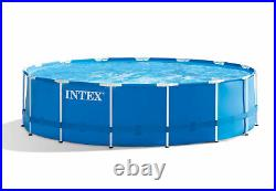 Intex 15ft x 42in Metal Frame Above Ground Swimming Pool Set with 1000 GPH Pump