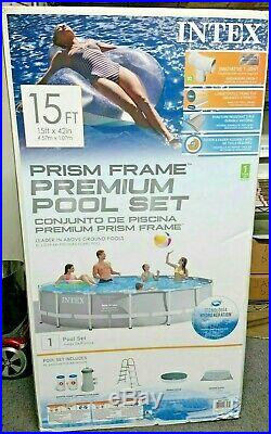 Intex 15ft x 42in Prism Frame Swimming Pool with Pump + Ladder + Cover FAST SHIP