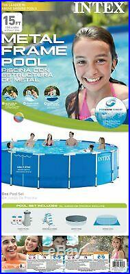 Intex 15ft x 48in Frame Swimming Pool Set with Pump and Filter Pump Cartridges