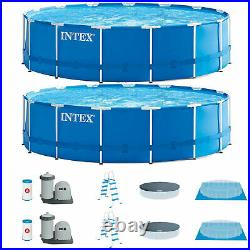 Intex 15ft x 48in Metal Frame Above Ground Swimming Pool Set with Pump (2 Pack)