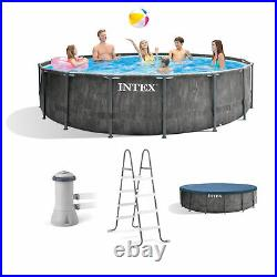 Intex 15ft x 48in Prism Steel Frame Pool Set with Cover, Ladder, & Pump (Used)