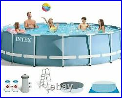 Intex 15ftx48in Prism Metal Frame Above Ground Swimming Pool+Pump+Ladder+Cover