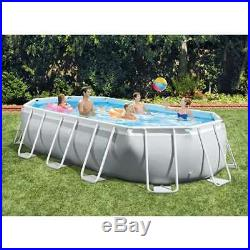 Intex 16.5 x 4ft Prism Frame Oval Above Ground Swimming Pool Pump Set (Open Box)