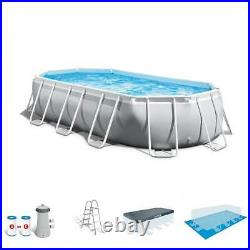 Intex 16.5ft x 9ft 48in Prism Frame Oval Above Ground Pool Pump Set (For Parts)