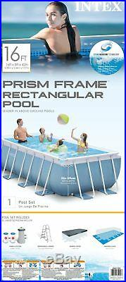 Intex 16' x 8' x 42 Prism Frame Above Ground Pool Set with Filter Pump Cartridges