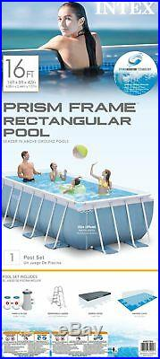 Intex 16ft X 8ft X 42in Rectangular Prism Frame Pool Set with Filter Pump, Ladde