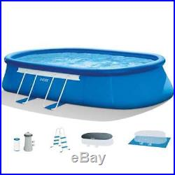 Intex 18' x 10' x 42 Oval Frame Swimming Pool Set, Pump+Ladder+Cover (Open Box)
