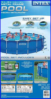 Intex 18' x 48 Metal Frame Above Ground Swimming Pool Set with 1500 GFCI Pump