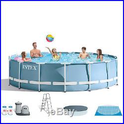 Intex 18' x 48 Prism Frame Above Ground Swimming Pool with Ladder, Filter & Pump