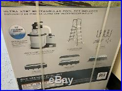 Intex 18' x 9' × 52 Rectangle Pool Sand Filter Cover Ladder Pump Included New