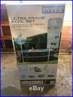 Intex 18ft By 48 Ultra Frame Above Ground Swimming Pool Set with Pump and Ladder