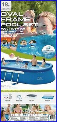 Intex 18ft X 10ft X 42in Oval Frame Pool Set with Filter Pump Ladder Cover GC NIB