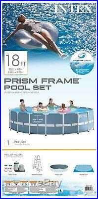 Intex 18ft X 48in Prism Frame Pool Set with Filter Pump, Ladder, Ground Cloth &