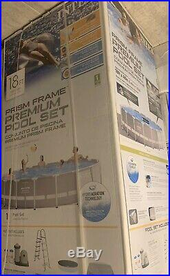 Intex 18ft X 48in Prism Frame Pool with Filter Pump Ladder, Cover Above Ground Pool